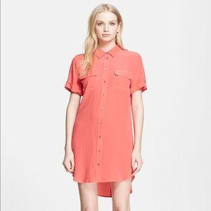 [Equipment] Silk Shirtdress Slim Signature Dress
